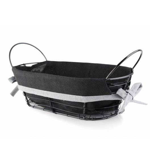 MONDEX Koszyk na pieczywo 25 x 15 x 8 cm / czarny / metalowy