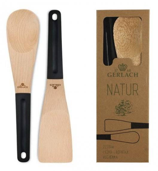 PROMOCJA! GERLACH NATUR Akcesoria kuchenne 2 elementy (łyżka +łopatka) / drewno bukowe