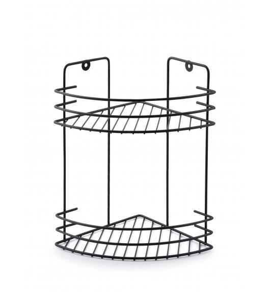 BATHLAB CARL BLACK Półka łazienkowa wisząca / 2 poziomy / metal