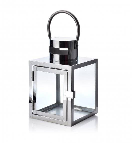 MONDEX LEONE SILVER Lampion 12 x 12 x 19 cm / metal + szkło