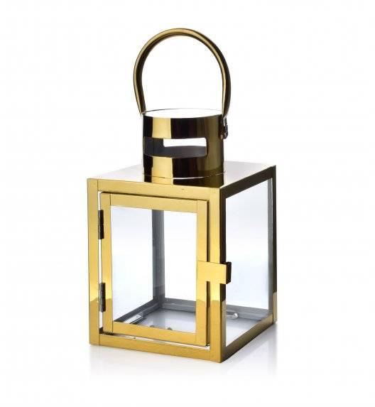 MONDEX LEONE GOLD Lampion 12 x 12 x 19 cm / metal + szkło