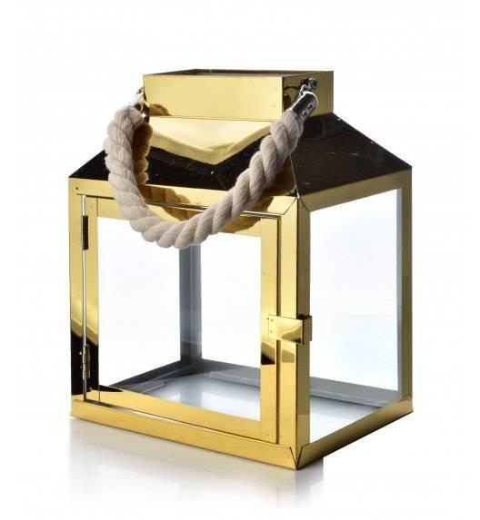 MONDEX LEOARDO GOLD Lampion 20 x 13,5 x 24,5 cm / metal + szkło