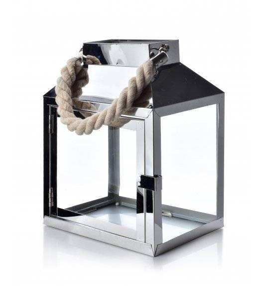 MONDEX LEOARDO SILVER Lampion 20 x 13,5 x 24,5 cm / metal + szkło