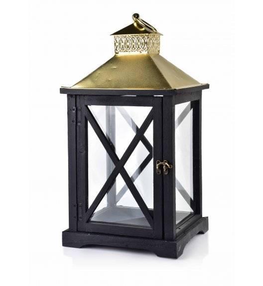 MONDEX LEVI GOLD Lampion 24 x 22 x 46 cm / drewno + szkło
