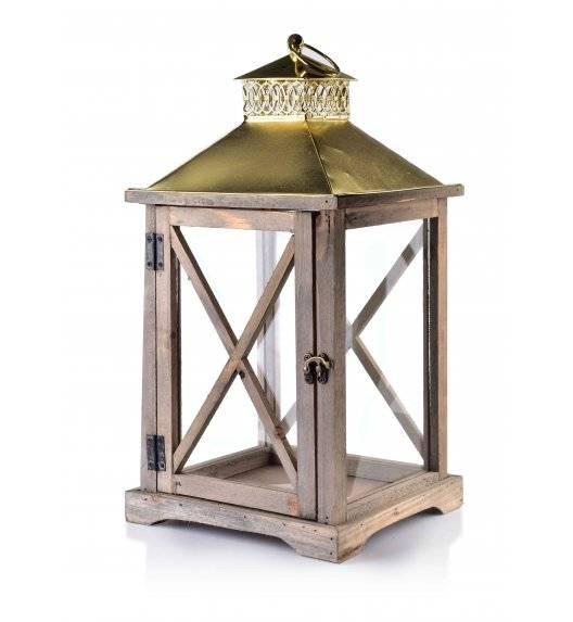 MONDEX LEVI NATURAL Lampion 24 x 22 x 46 cm / drewno + szkło