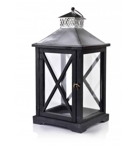 MONDEX LEVI SILVER Lampion 24 x 22 x 46 cm / drewno + szkło