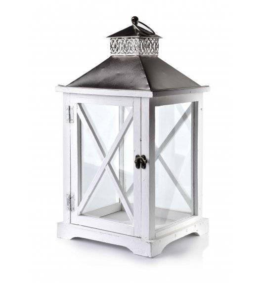 MONDEX LEVI WHITE Lampion 24 x 22 x 46 cm / drewno + szkło