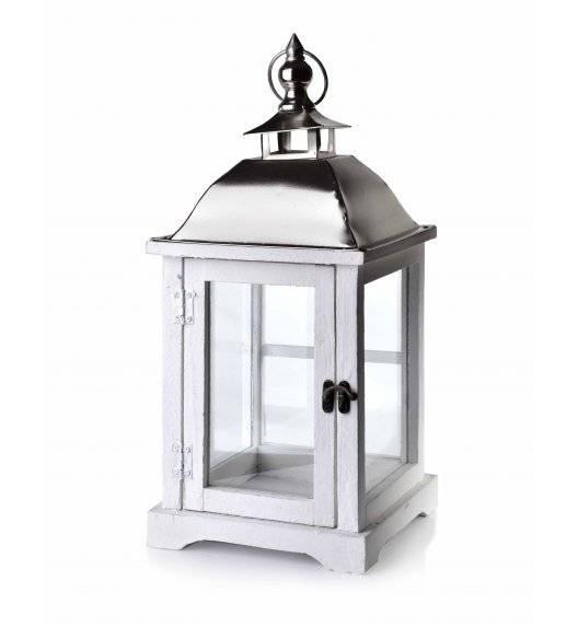 MONDEX LEVI WHITE Lampion 20 x 20 x 43 cm / drewno + szkło