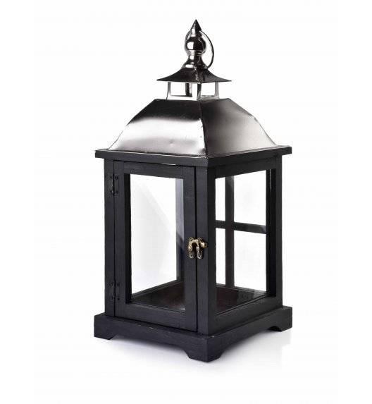 MONDEX LEVI SILVER Lampion 20 x 20 x 43 cm / drewno + szkło