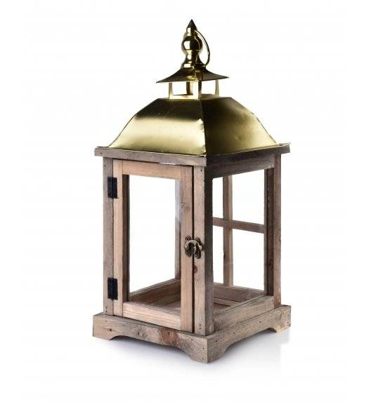 MONDEX LEVI ATURAL Lampion 20 x 20 x 43 cm / drewno + szkło