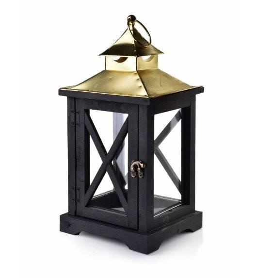 MONDEX LEVI GOLD Lampion 19 x 16,5 x 37 cm / drewno + szkło
