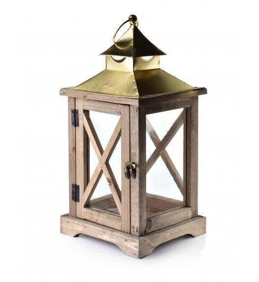 MONDEX LEVI NATURAL Lampion 19 x 16,5 x 37 cm / drewno + szkło