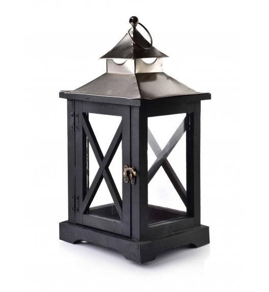MONDEX LEVI SILVER Lampion 19 x 16,5 x 37 cm / drewno + szkło
