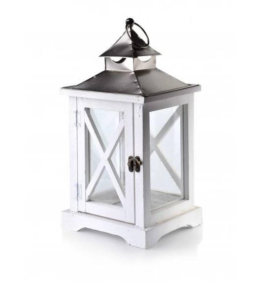 MONDEX LEVI WHITE Lampion 19 x 16,5 x 37 cm / drewno + szkło