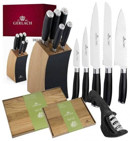 GERLACH DECO BLACK Komplet 5 noży w bloku + ostrzałka 3w1+ komplet desek dębowych Natur