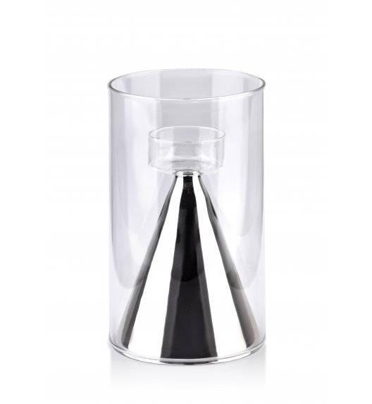MONDEX RITA Świecznik szklany  ø 12 x 20 cm / srebrny
