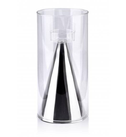MONDEX RITA Świecznik szklany  ø 12 x 25 cm / srebrny
