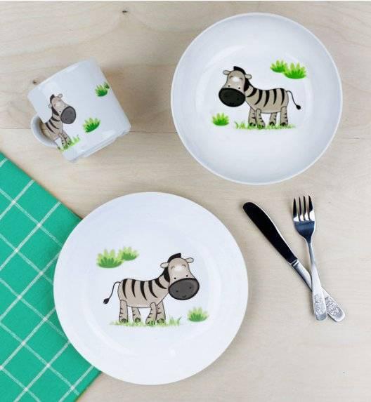LUBIANA ZEBRA Komplet obiadowy dla dzieci 3 el / porcelana