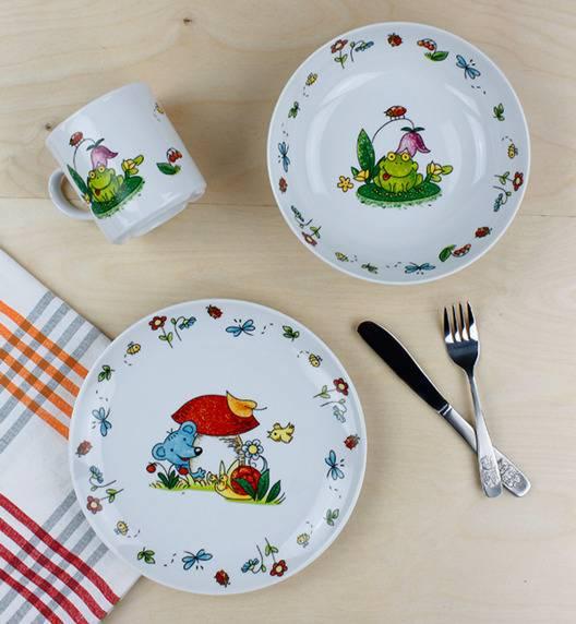 LUBIANA ŻABKA Komplet obiadowy dla dzieci 3 el / porcelana