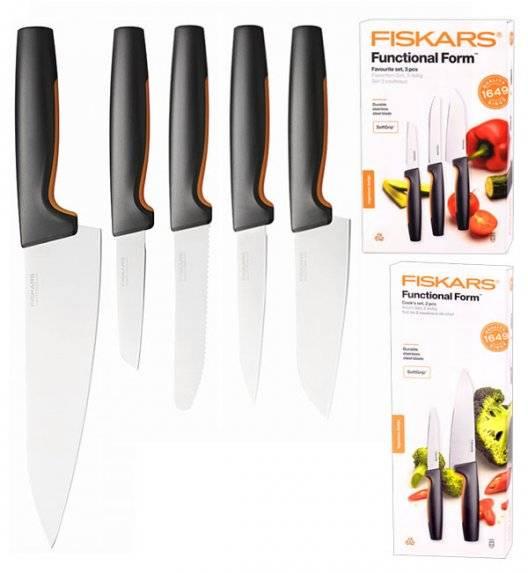 FISKARS FUNCTIONAL FORM 1057556+1057557 Komplet 5 noży kuchennych (3+2) FAVOURITE SET w pudełku / stal nierdzewna