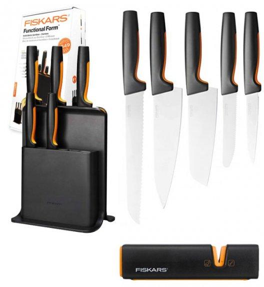 FISKARS FUNCTIONAL FORM 1057554 Komplet 5 noży w bloku czarnym + ostrzałka Fiskars Edge