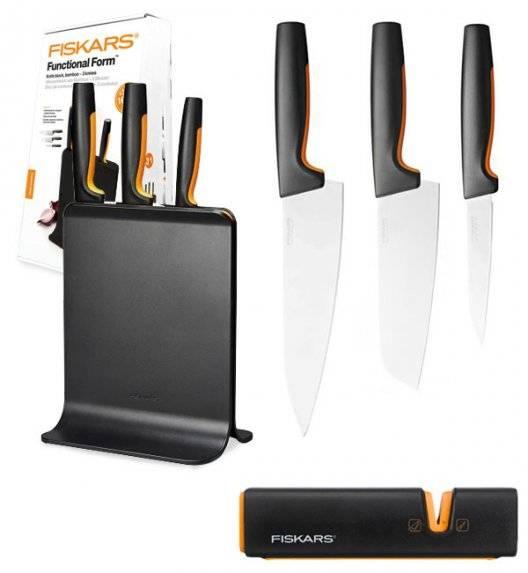 FISKARS FUNCTIONAL FORM 1057555 Komplet 3 noży w bloku czarnym + ostrzałka Fiskars Edge
