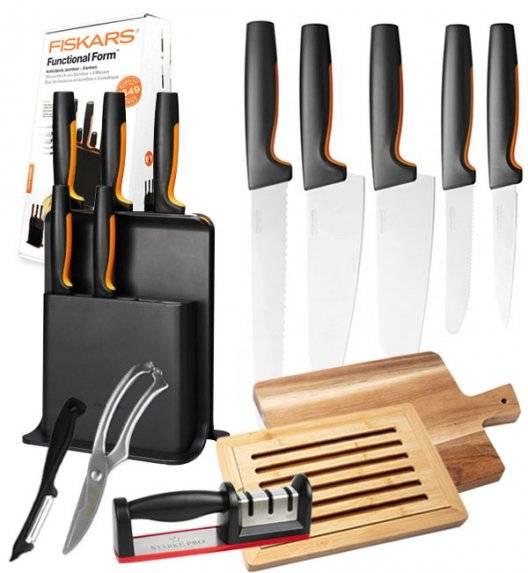 FISKARS FUNCTIONAL FORM 1057554 Komplet 5 noży w bloku czarnym + zestaw 5 akcesoriów