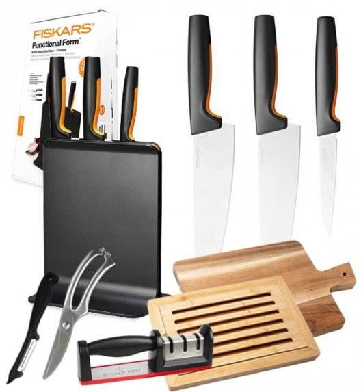 FISKARS FUNCTIONAL FORM 1057555 Komplet 3 noży w bloku czarnym + zestaw 5 akcesoriów