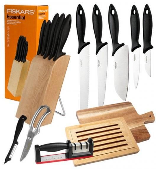 FISKARS ESSENTIAL Noże kuchenne 5 noży w bloku drewnianym 1023782 + zestaw 5 akcesoriów