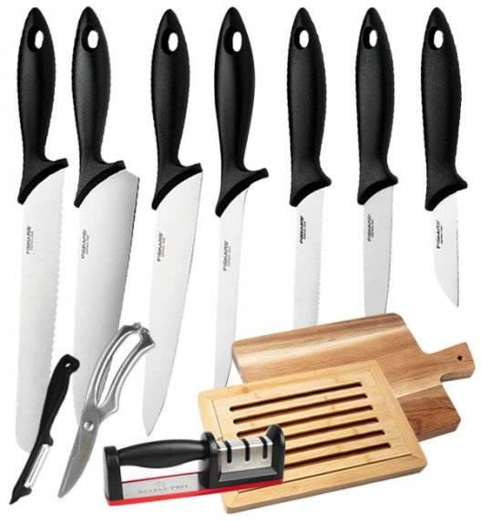 FISKARS ESSENTIAL Komplet 7 noży kuchennych luzem / stal nierdzewna + zestaw 5 akcesoriów