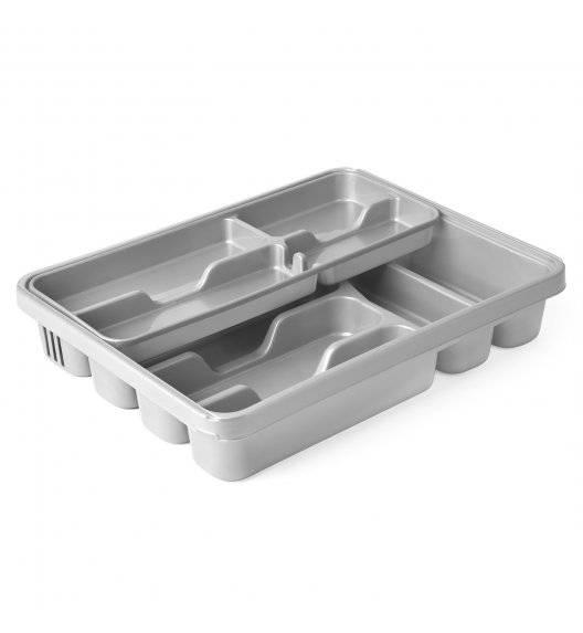 HEGA Podwójny wkład do szuflady na sztućce / srebrny