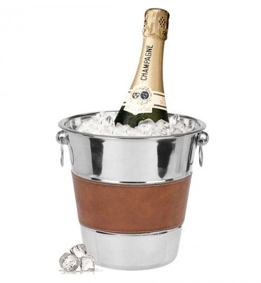EXCELLENT HOUSEWARE Cooler / wiaderko na szampana z elementami skóry / stal nierdzewna