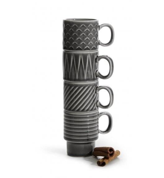 SAGAFORM COFFEE Zestaw 4 filiżanek do espresso 100 ml / szare / ceramika