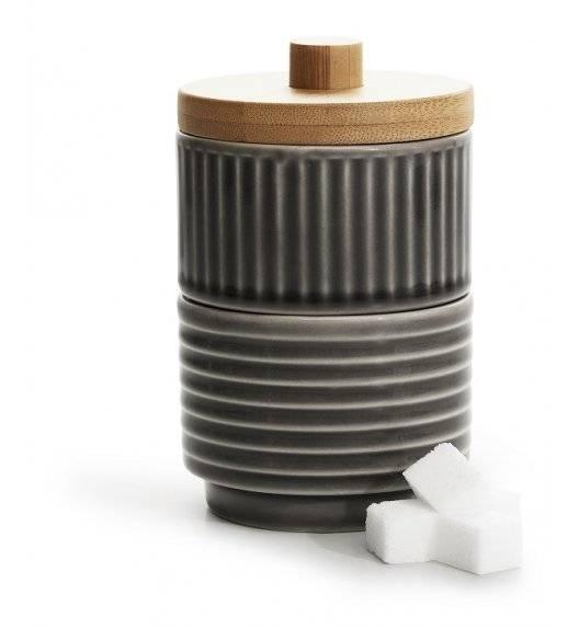 SAGAFORM COFFEE Podwójna cukiernica z bambusową pokrywką / szara / ceramika