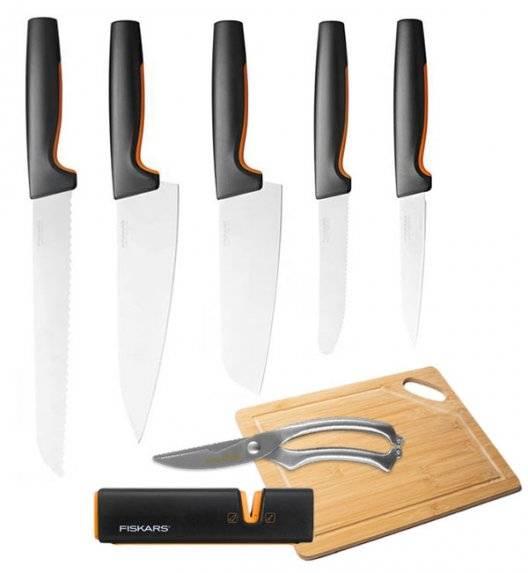 FISKARS FUNCTIONAL FORM Komplet 5 noży luzem + ostrzałka Edge + deska+ nożyce   / stal nierdzewna