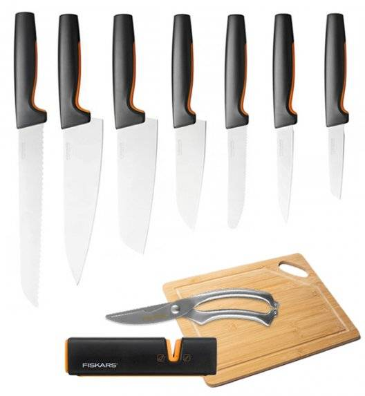 FISKARS FUNCTIONAL FORM Komplet 7 noży luzem + ostrzałka Edge + deska + nożyce / stal nierdzewna