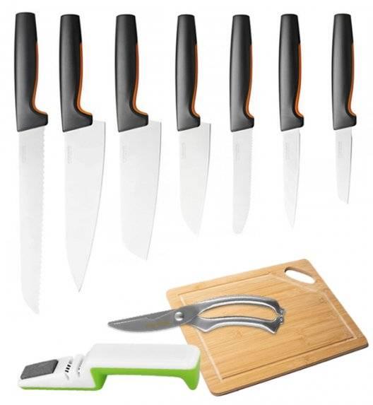 FISKARS FUNCTIONAL FORM Komplet 7 noży luzem + ostrzałka uniwersalna + deska + nożyce / stal nierdzewna