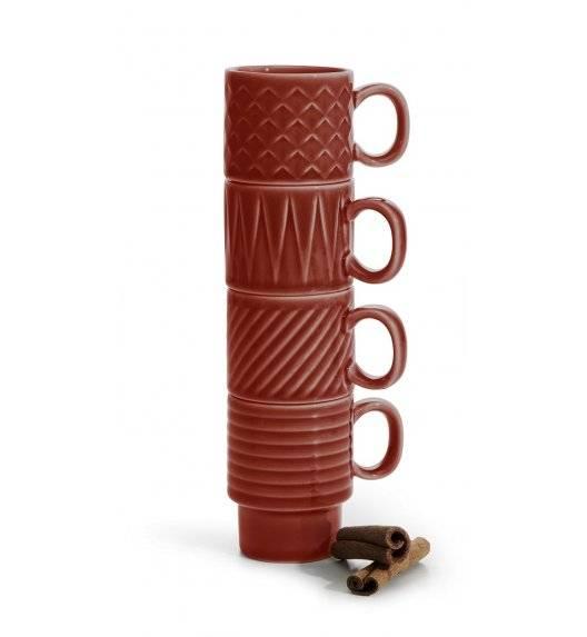 SAGAFORM COFFEE Zestaw 4 filiżanek do espresso 100 ml / czerwone / ceramika
