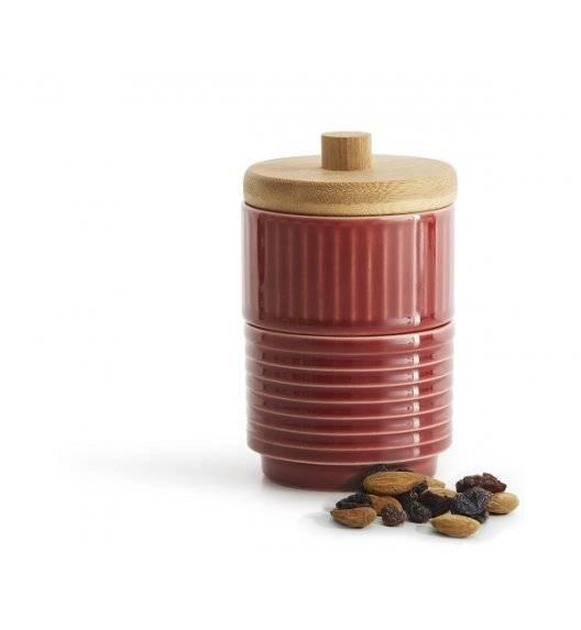 SAGAFORM COFFEE Podwójna cukiernica z bambusową pokrywką / czerwona / ceramika