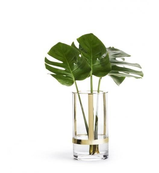 SAGAFORM INTERIOR Szklany wazon z pozłacanym elementem / 11 x 20 cm