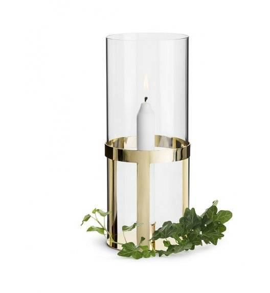 SAGAFORM INTERIOR Szklany świecznik z pozłacanym elementem / 10 x 25 cm