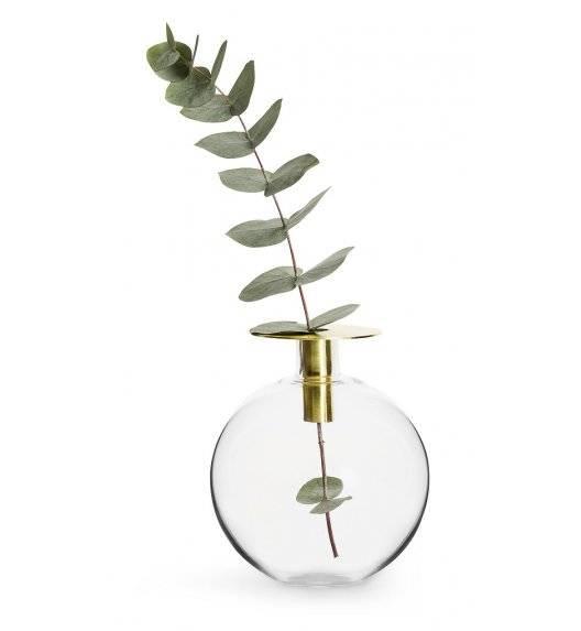 SAGAFORM INTERIOR Szklany wazonik / świecznik z pozłacanym elementem / 18 cm