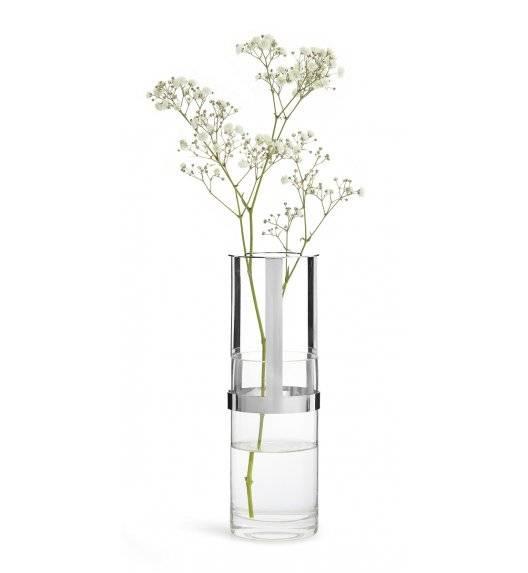 SAGAFORM INTERIOR Szklany wazon z metalowym elementem / 8 x 15 cm