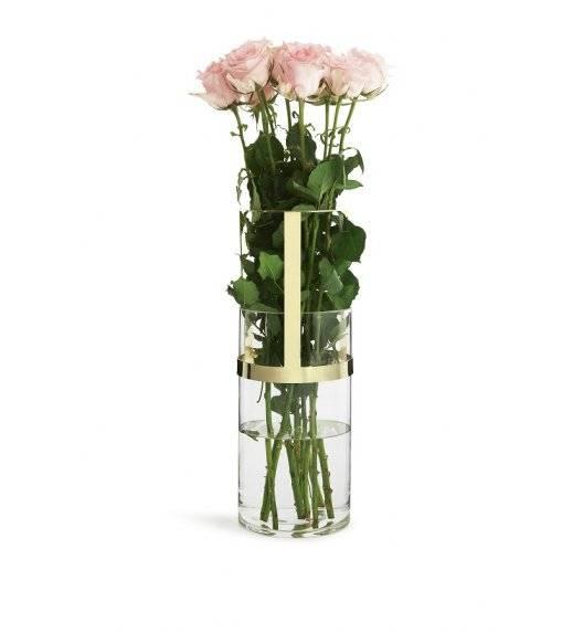 SAGAFORM INTERIOR Szklany wazon z pozłacanym elementem / 15 x 28 cm