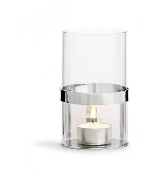 SAGAFORM INTERIOR Szklany świecznik ze srebrnym elementem / 7 x 12,5 cm