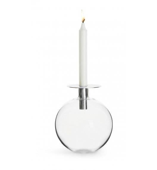 SAGAFORM INTERIOR Szklany wazonik / świecznik ze srebrnym elementem / 18 cm
