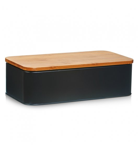 WYPRZEDAŻ! ZELLER Chlebak z bambusową deską do krojenia 2w1 / 42,5 cm / czarny / metal