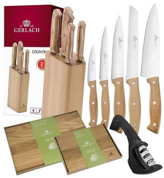 GERLACH COUNTRY Komplet 5 noży w bloku+ ostrzałka 3w1 + deski dębowe Natur