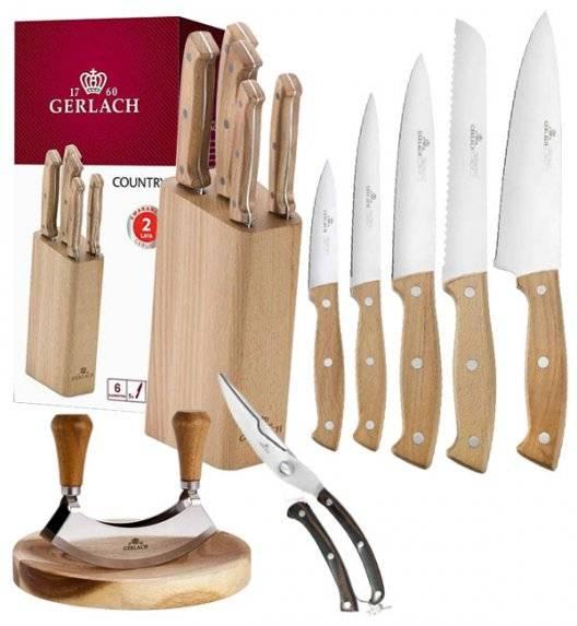 GERLACH COUNTRY Komplet 5 noży w bloku+ Tasak do ziół 2w1 Natur + nożyce drewniane