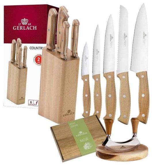 GERLACH COUNTRY Komplet 5 noży w bloku+ Tasak do ziół 2w1 Natur + deska drewniana mała 30 x 24 cm